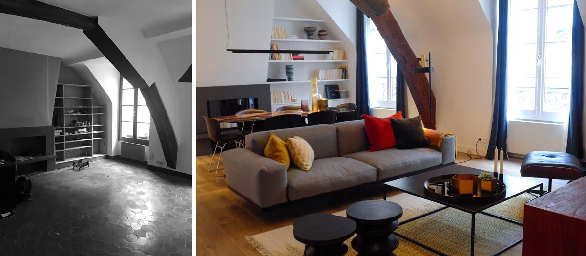 Avant - après : rénovation d'un salon par un architecte d'intérieur
