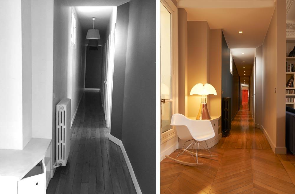 Avant - Après : Rénovation d\'un appartement haussmannien à Paris