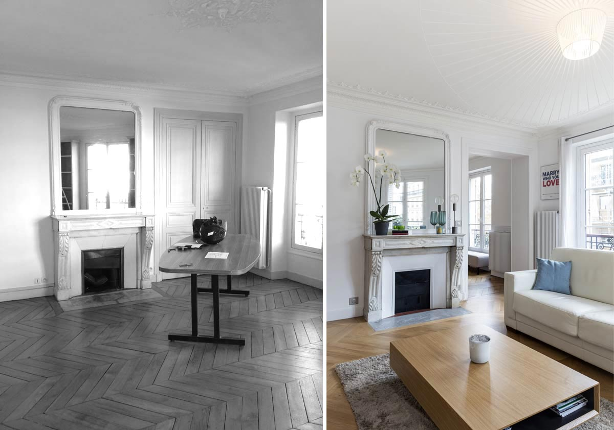 Rénovation d'un salon contemporain dans un appartement haussmannien