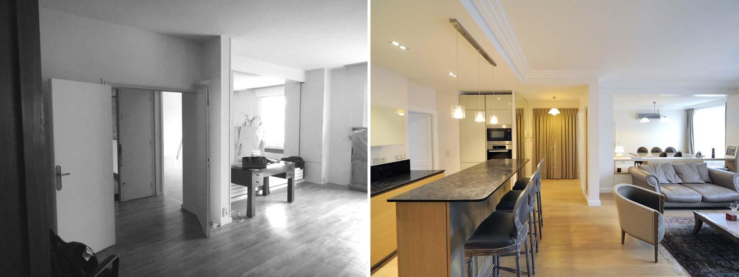 avant apr s transformation d 39 un bureau en appartement de 85m2. Black Bedroom Furniture Sets. Home Design Ideas