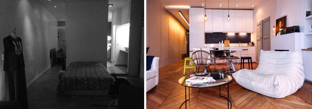 transformation d 39 un studio en appartement de 2 pi ces et 55m2. Black Bedroom Furniture Sets. Home Design Ideas