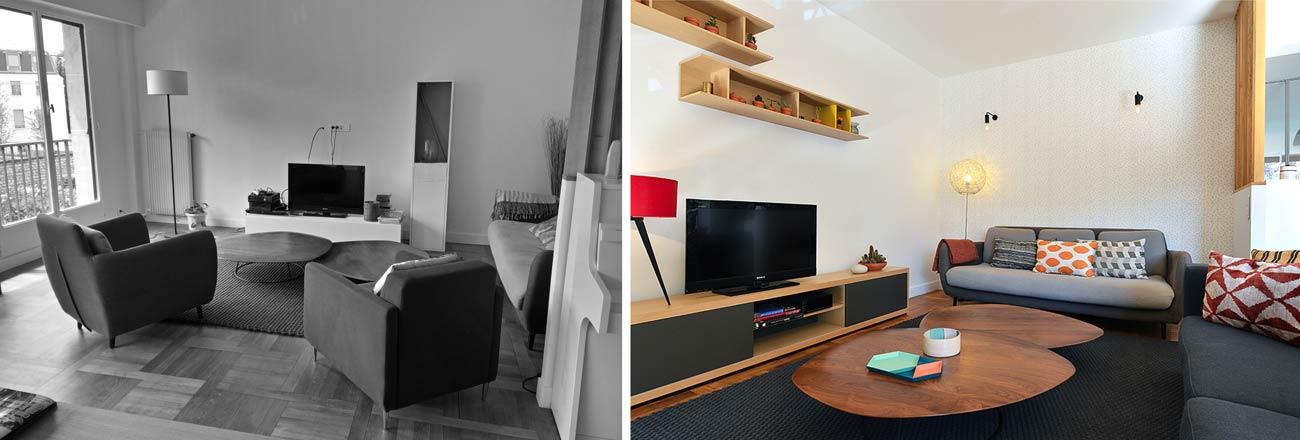 Décoration d\'un salon - séjour de 40m2 | Avant-Après | Créateurs d ...