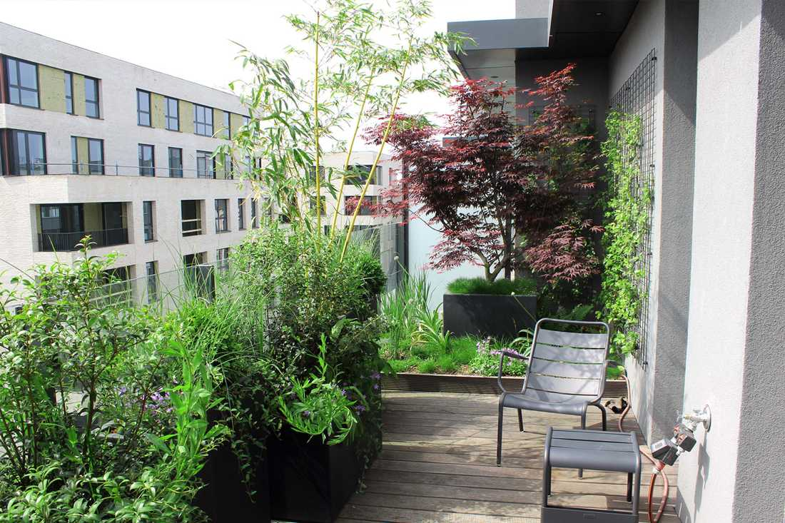 Landscaping of a penthouse terrace in Lille